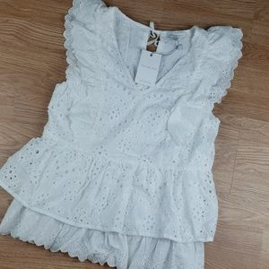 NWT Anthro Skies Are Blue Eyelet Ruffled Top Sz S
